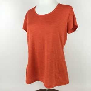 Athleta Orange Semi Sheer Stripe Illuminate Tee